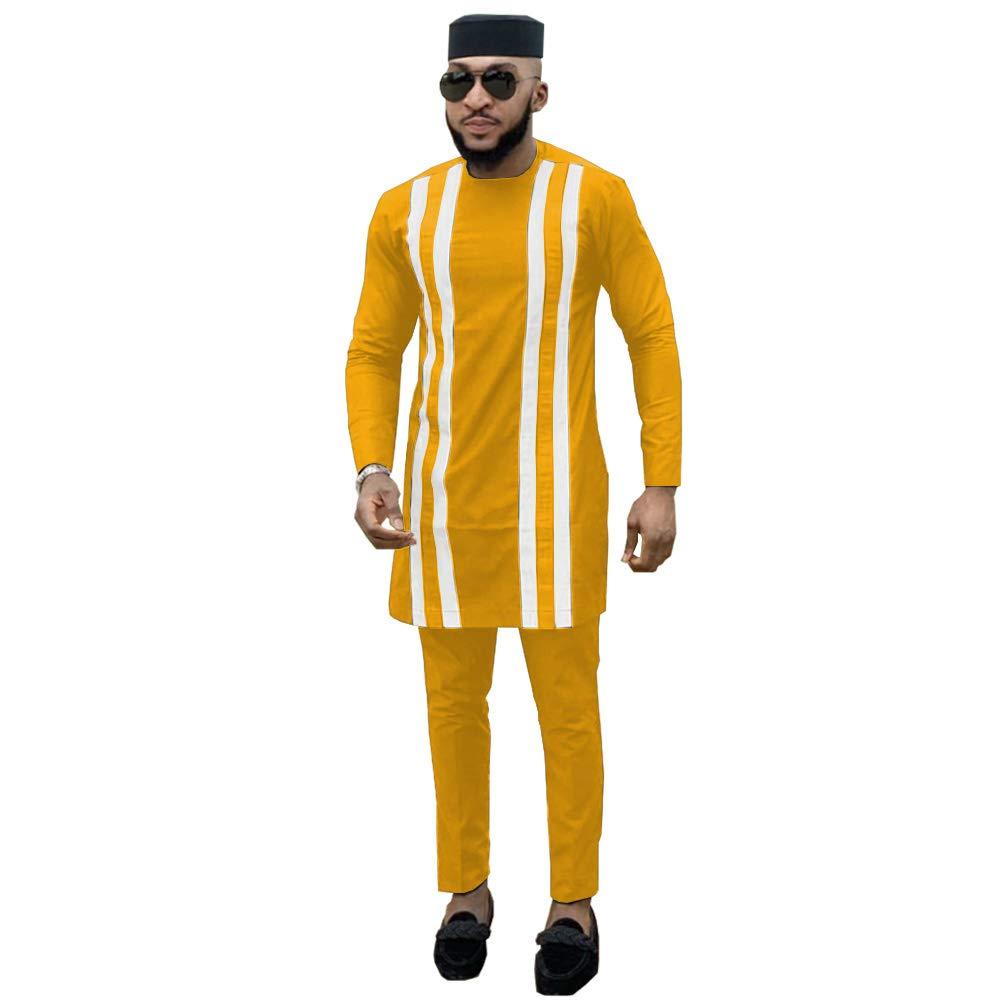 private afripride Mens 3 Piece Set Dashiki Clothing Print Tops+Ankara Pants+Hat Tribal Men`s Traditional Outfits
