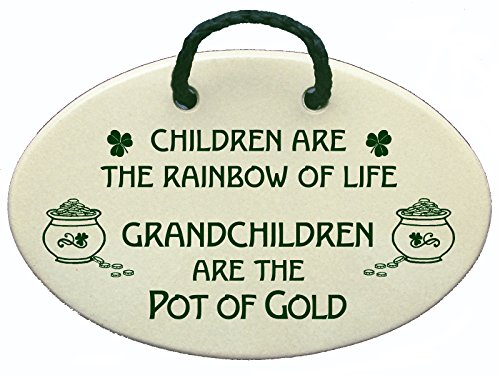 Children are the rainbow of life. Grandchildren are the pot of gold. Ceramic wall plaques handmade for over 30 years in the USA. (Ceramic Wall Plaque)