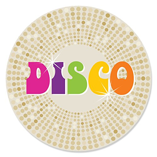 70's Disco - 1970's Disco Fever Party Circle Sticker Labels - 24 Count ()