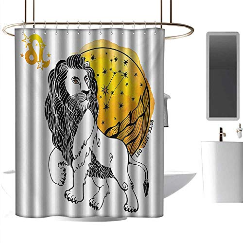 Shower Curtains for Bathroom African American Women Zodiac,Royal Leader of Zodiac Sign Leo Symbol with Giant Sun and Stars Birth Fortune Image,Multicolor,W48 x L72,Shower Curtain for Shower stall
