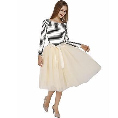 57e319ae6 Fetoo Womens 7 Layers Midi Tulle Skirt Tutu Skirts Petticoat Ball Gown Paty  Ballet Mesh Skirts