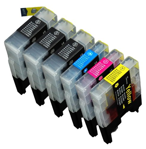 6 Pack Compatible with  Brother LC-71 , LC-75 3 Black, 1 Cyan, 1 Magenta, 1 Yellow for use with Brother MFC-J280W, MFC-J425W, MFC-J430W, MFC-J435W, MFC-J5910DW, MFC-J625DW, MFC-J6510DW, MFC-J6710DW, MFC-J6910DW, MFC-J825DW, MFC-J835DW. Ink Cartridges for
