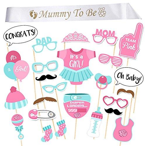 [iLoveCos Mummy to be Sash Baby Shower Photo Props Kits on Sticks Boy Girl Party Decorations Gifts (it's a girl)] (Mummy Decoration)