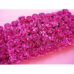 www.embellishmentworld.com 144 Mulberry Paper Rose Flower Bouquet/wire stem/scrapbooking/wedding H420-Hot Pink Ship Fast 11