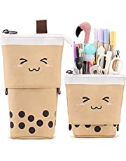 Friinder Cute Pen Pencil Telescopic Holder Stationery Case, Stand-up Transformer Bag with Smile Face Dot Organizer, Great for Summer Holiday Cosmetics Pouch Makeup Bag