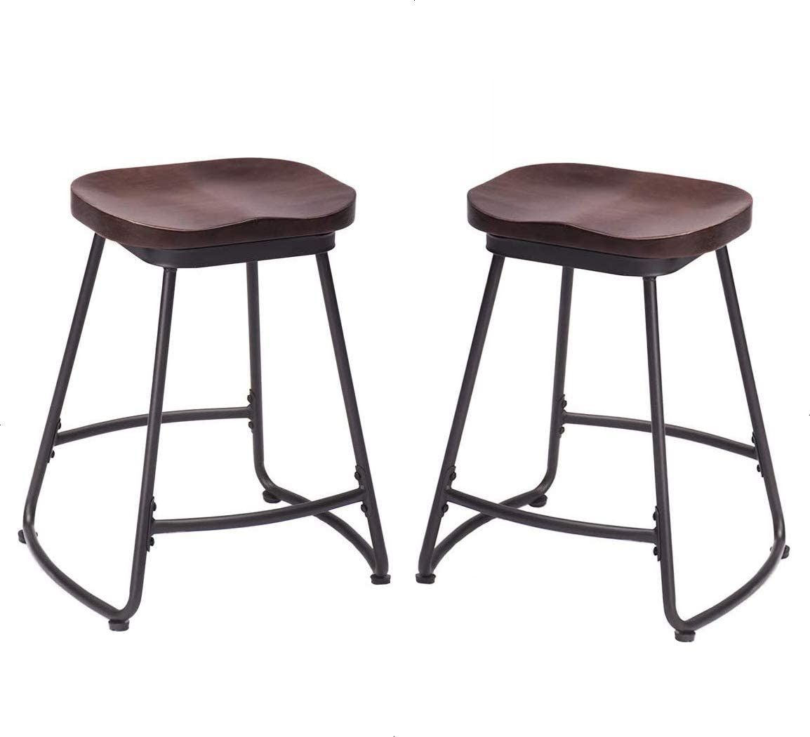 Alunaune 24 Metal Counter Stool Set of 2 Metal Counter Height Bar stools with Wood Seat