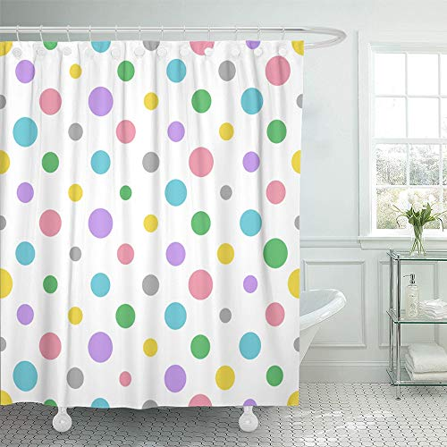 - Emvency Shower Curtain Set Waterproof Adjustable Polyester Fabric Gray Abstract Colorful Polka Dot Pattern Pink Baby Children Circle Classic 72 x 72 Inches Set with Hooks for Bathroom