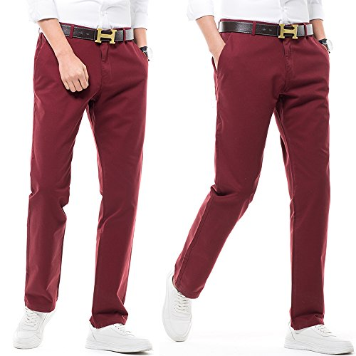 Hommes Hommes Casual Jambes Chino Avec Droite Inflation Pour Droites Coupe Pantalons Grenat Style Uni waU1Bz