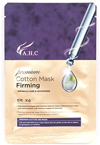 AHC 10 pcs Firming Mask 28ml(1.4 oz), 100% Cotton,Hypoallergenic Test Completed, Premium cotton mask Firming, A H C Korean Cosmetics-2017 New