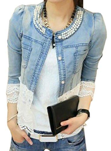 Nanquan-women clothes NQ Women Fashion Long Sleeved Crewneck Rhinestone Embellished Lace Trim Coats Aspic US XS Coat Lace Trim