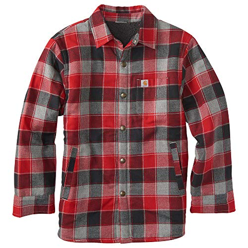 Carhartt Kid's CP8532 Lined Flannel Shirt Jac - Boys - X-Small (6) - Chili
