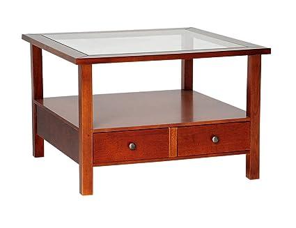 Tavolino Salotto In Legno.Tavolino Da Salotto Legno Massello Con 2 Cassetti E Ripiano In Vetro Color Noce