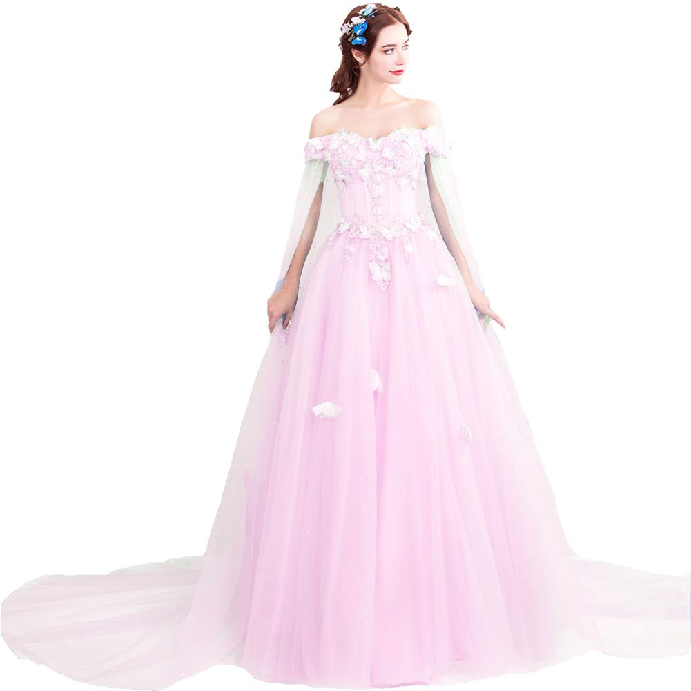 Nude Pink Kivary Off The Shoulder Butterfly Long Prom Evening Dress Wedding Gown with Cape