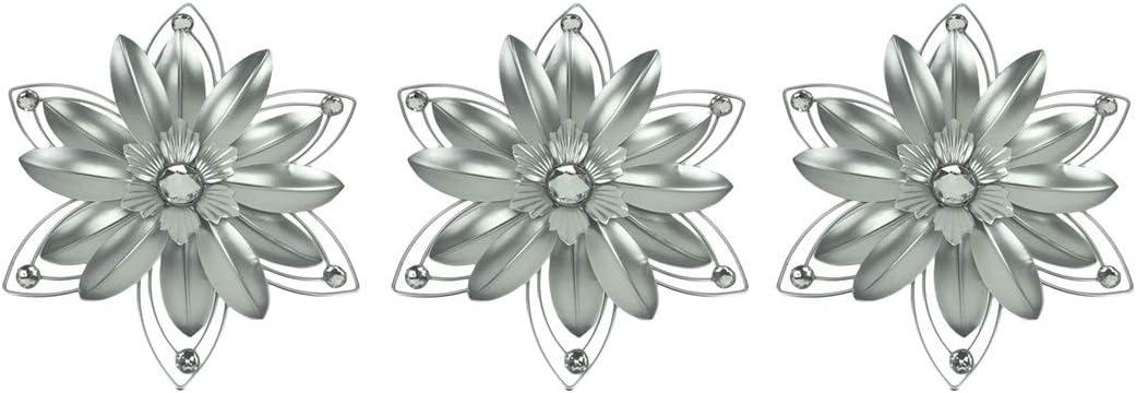 Elico Ltd. Jeweled 3D Metal Flower Wall Sculpture Set of 3