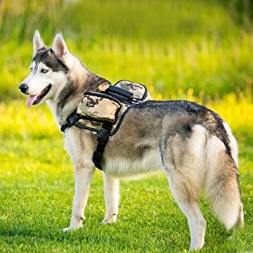 BONAWEN Dog Saddle Bag for Large Dogs, Adjustable 600D Oxford Fabric, Large Capacity Reflective Dog Backpack for Hiking Camping Training L)
