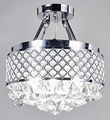 Diamond Life 4-light Chrome Finish Round Metal Shade Crystal Chandelier Semi-Flush Mount Ceiling Fixture