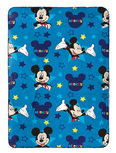 Mickey Blanket Mouse (Disney Mickey Mouse Plush Travel Blanket, Blue Throw)