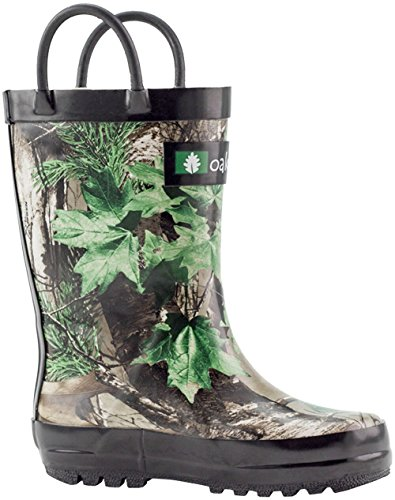 Oakiwear Kids Rubber Rain Boots With Easy-On Handles, Xtra Green Camo, 13T US Toddler (Camo Kids Boots)