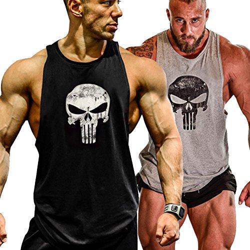 GZXISI Mens Skull Print Stringer Bodybuilding Gym Tank Tops Workout Fitness Vest (2 Pack:Black,Gray, X-Large) ()