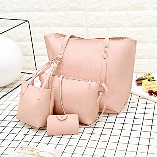 Women Satchels Vintage Casual Handbag Shoulder 4Pcs Crossbody Beach Pattern Leather Wallet Halijack Tote Womens Bag Pink Party Bag Bag Sale Purse Clearance Bag Messenger Classic pxfw5