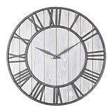 WALL CLOCK Large Metal Roman Numeral Quartz Silent Sweep Non-ticking Decorative Retro Big Round Wooden Clock For Gift Black'Iron'(40cm In Diameter)
