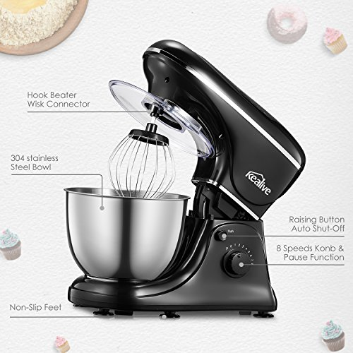 Kealive Stand Mixer, 8 Speed 700 Watt Kithchen Mixer with 5-Quart Stainless Steel Bowl, Dough Hooks, Whisk, Beater, Pouring Shield, Dough Mixer, Black by Kealive (Image #1)