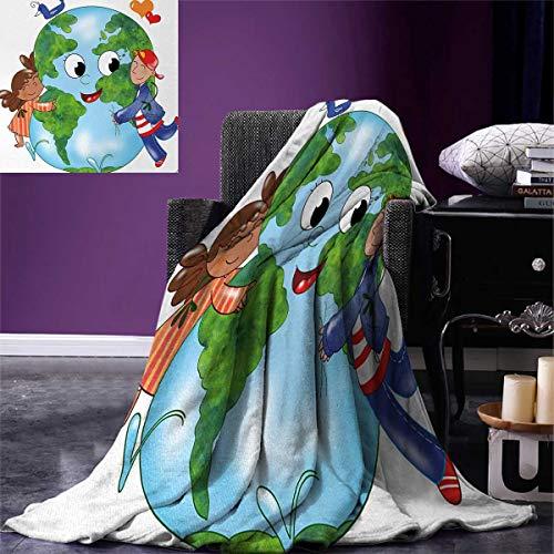 - smallbeefly Earth Warm Microfiber All Season Blanket Two Cute Kids Hugging Happy Planet Earth Bird Hearts Embracing in Cartoon Style Print Artwork Image 62