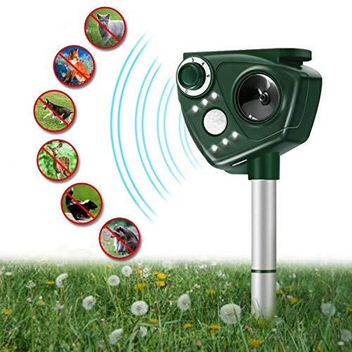 FOCUSPET Ultrasonic Animal Repellent - Waterproof Outdoor Ultra Humane & Safe Way of Scaring Away Wild Animals - Skunks, Foxes, Birds, Dogs, Squirrels, Rodents (Best Mulch To Keep Cats Away)
