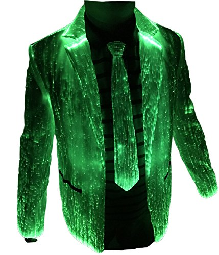 RGB LED Light up Jackets Fiber Optic Burning Man Costumes Blazers Club Wear (M, White)