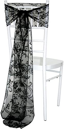 Pattern Leaves A Black Time to Sparkle TtS 50pcs Flocked Organza Sashes Chair Cover Sash Bow Wedding Party Birthday