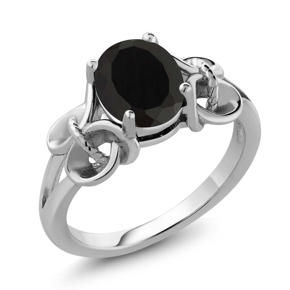 Black Onyx 925 Sterling Silver Women's Ring 2.60 Ct Oval 9x7mm (Size 7)
