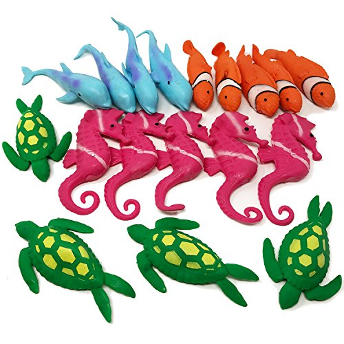BOLEY Ocean Sea Animal , 18 Pack Rubber Bath Toy Set, Non Toxic TPR Super Stretchy and Squishy Floating Bathtub Toy Figure Gift Pack that makes Great Party - Sunglasses At Kids Walmart For