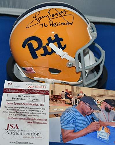 Autographed Official Throwback Helmet - Tony Dorsett Autographed Signed Memorabilia 76 Throwback Mini Helmet Pitt Panthers 1976 Heisman - JSA Authentic
