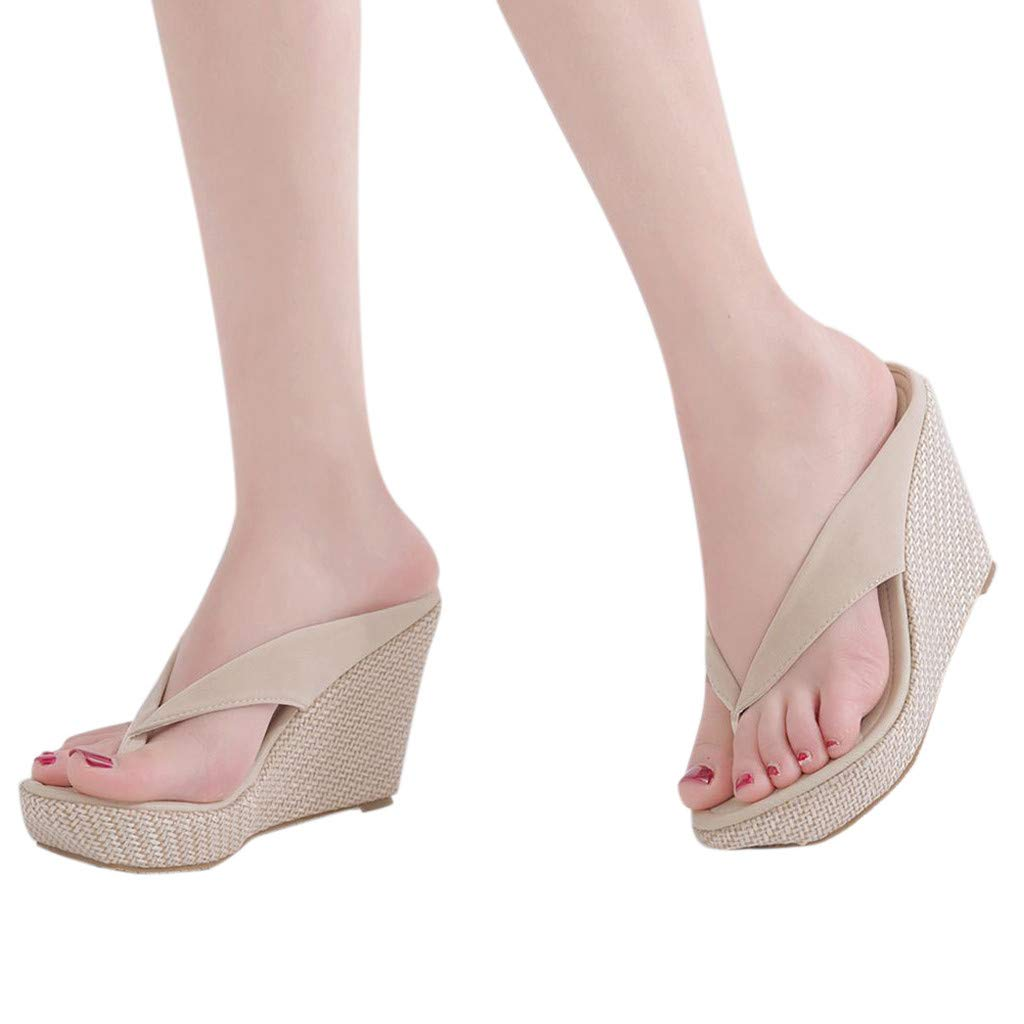 SMALLE_Shoes Wedge Flip Flops for Women,SMALLE◕‿◕ Women Beach Sandals Platform Wedges Sandals High Heels Wedges Slippers Beige by SMALLE_Shoes (Image #3)