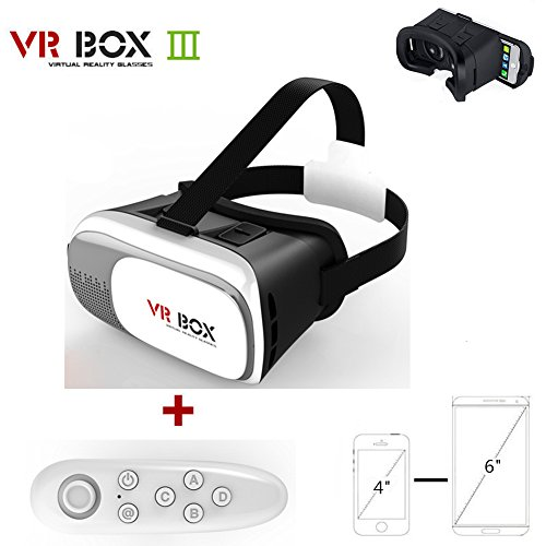 SCHITEC 3D VR Virtual Reality Headset Glasses with Remote Control For 3D Movies and Games 4-6inch for iPhone Samsung Moto LG Nexus HTC Huawei