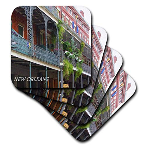 - 3dRose cst_43748_3 French Quarter New Orleans-Ceramic Tile Coasters, Set of 4 (Renewed)