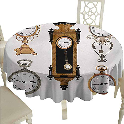 duommhome Clock Durable Tablecloth Vintage Styled Clocks Arrangement Old Fashioned Pattern in Antique Theme Design Easy Care D43 Umber and Beige