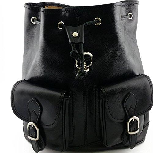 Leder Rucksack Farbe Schwarz - Italienische Lederwaren - Rucksack