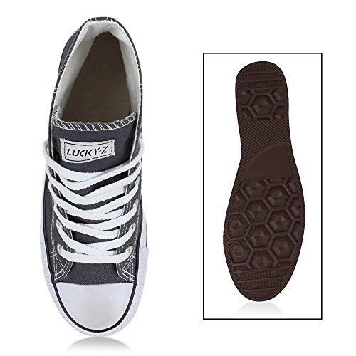 Damen Herren Unisex Sneaker High Schnürer Denim Sneakers Camouflage Sportschuhe Turnschuhe Glitzer Stoff Schuhe Übergrößen Flandell Dunkelgrau Ambler