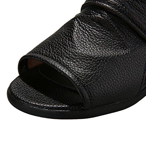 AIYOUMEI Damen Peep Toe Sommer Stiefeletten Sandalen mit Reißverschluss Bequem Schuhe Schwarz