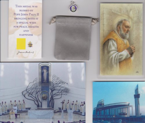 Saint Padre Pio Relic Medal Blessed by Pope John Paul II in Krakow Poland Includes Canonization Card for PJP Patron of Healing and (Padre Pio Patron Saint)