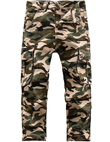 BYCR Boys Skinny Elastic Waistband Cotton Camo Cargo Jogging Pants