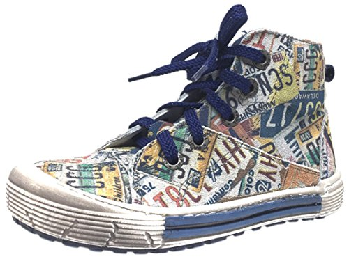 07876104e0cd8e Emel Kid s Distressed Navy License Plate Soft Suede Leather Lace Up Hight  Top Sneaker 28 M