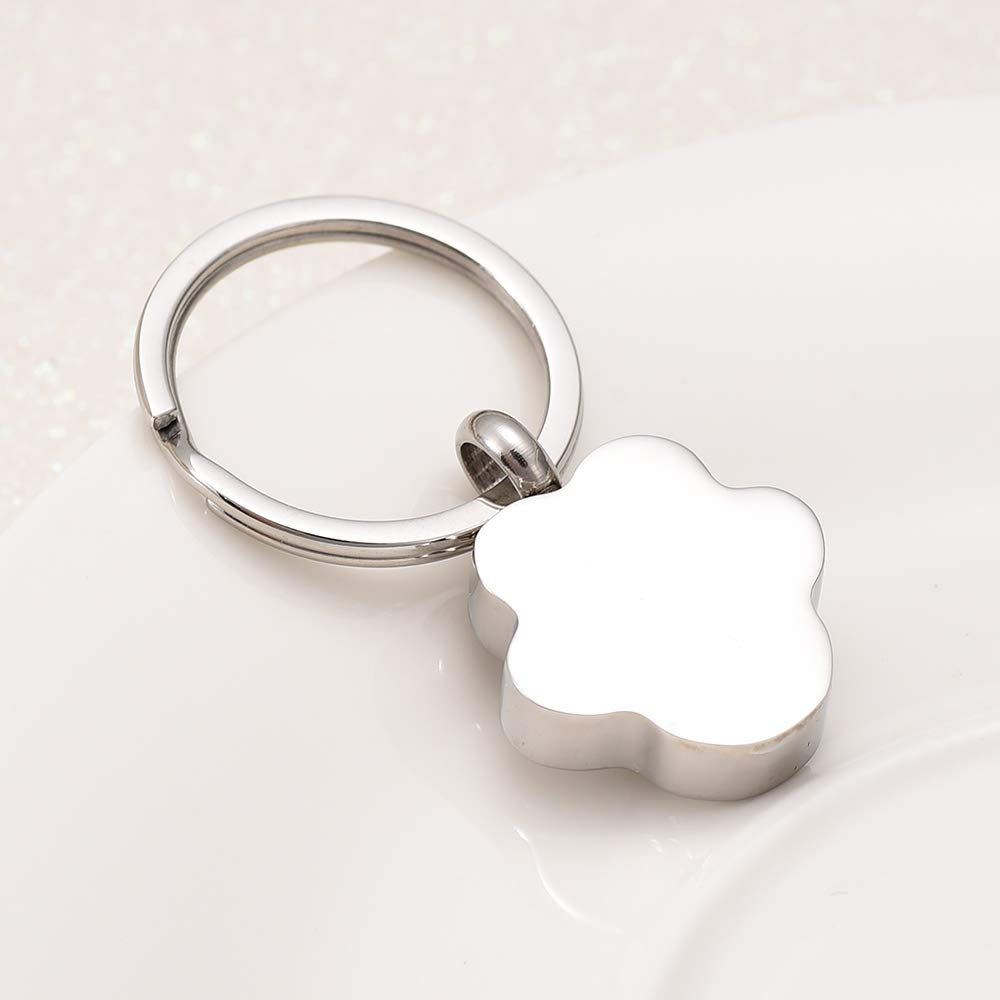 Memorial Urn Keychain Stainless Steel Charm Pet Paw Heart Cremation Jewelry Key Ring Unseix