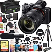 Sony a7 III Full Frame Mirrorless Interchangeable Lens 4K HDR Camera ILCE-7M3 Body with SEL24105G FE 24105mm F4 G OSS Zoom Lens and Deco Gear Backpack Kit Microphone Editing Bundle