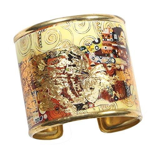 FLORIANA Women's Art Gold-Flecked Cuff Bracelet - Gustav Klimt/Vincent Van Gogh - The Kiss