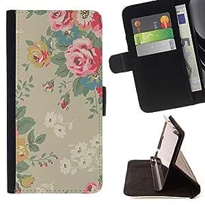 LG Magna / G4C / H525N H522Y H520N H502F H500F (G4 MINI,NOT FOR LG G4)Case , Roses Vintage Beige Rosa- la tarjeta de Crédito Slots PU Funda de cuero Monedero caso cubierta de piel