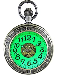 OGLE Waterproof Magnifier Skeleton Chain Silver Luminous Fob Self Winding Automatic Mechanical Pocket Watch (Bronze Luminous)