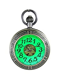 OGLE Bronze Waterproof Large Digital Luminous Magnifier Pendant Necklace Chain Fob Self Winding Automatic Mechanical Pocket Watch