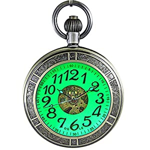 OGLE Waterproof Magnifier Skeleton Chain Silver Luminous Fob Self Winding Automatic Mechanical Pocket Watch